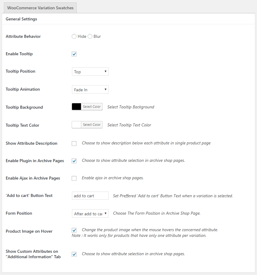 WooCommerce Variation Swatches Plugin Settings Panel
