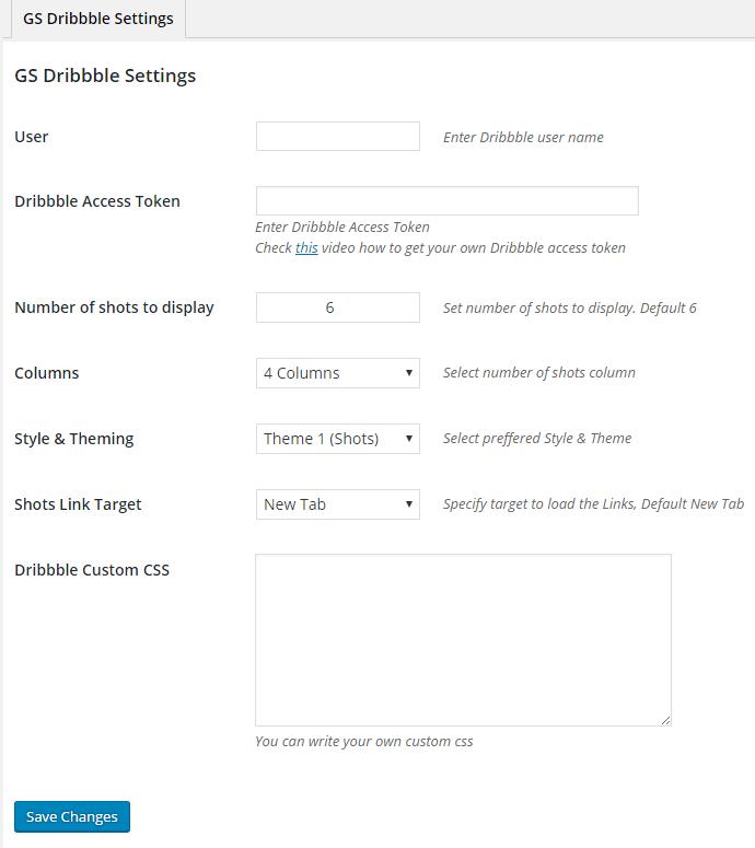 GS Dribbble Portfolio Install