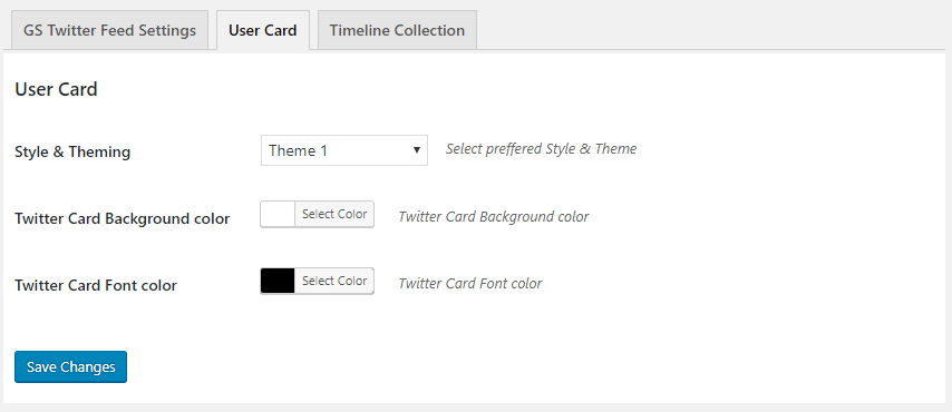 GS Twitter User Card Settings