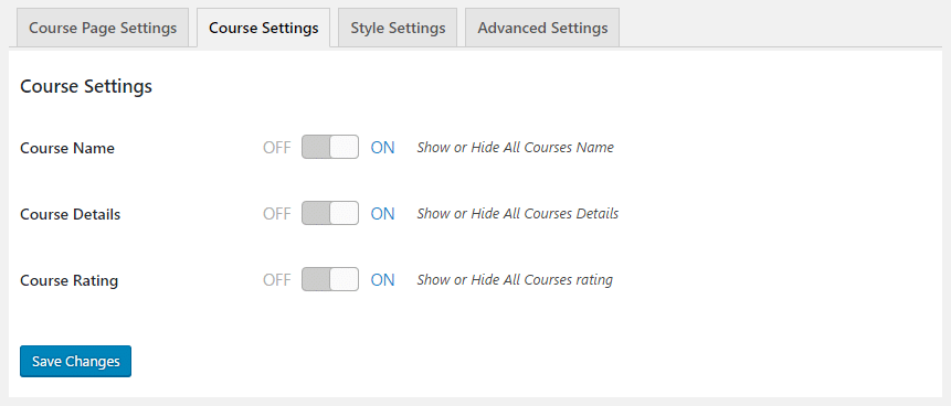 GS Course > Courses Settings > Course Page Settings