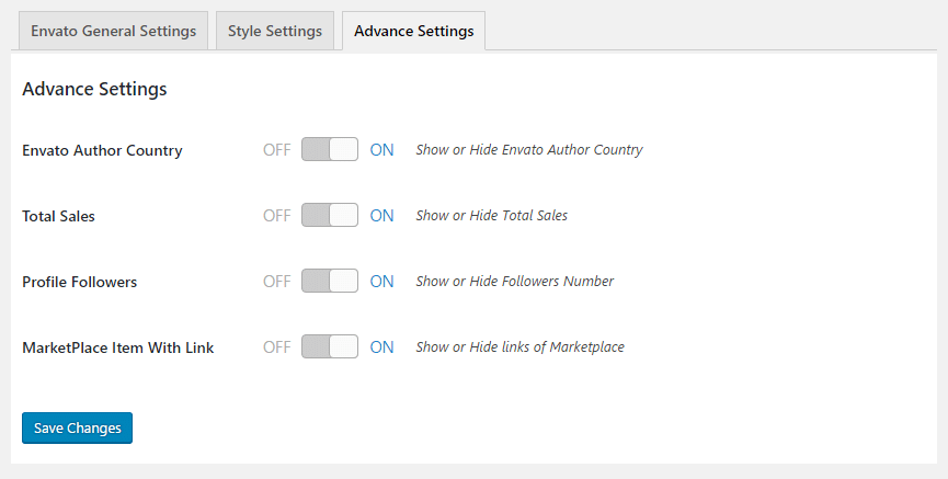 GS Envato Advanced Settings
