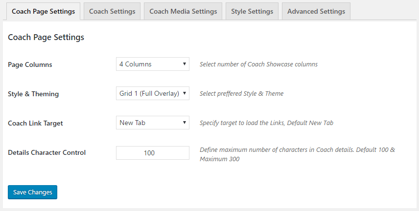 GS Coach > Coaches Settings > Coach Page Settings