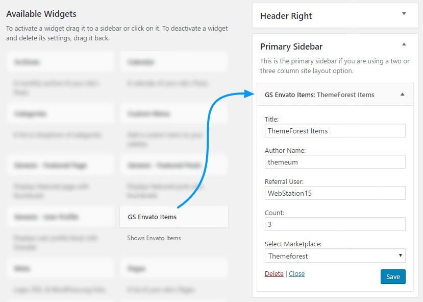 GS Envato Portfolio Widget