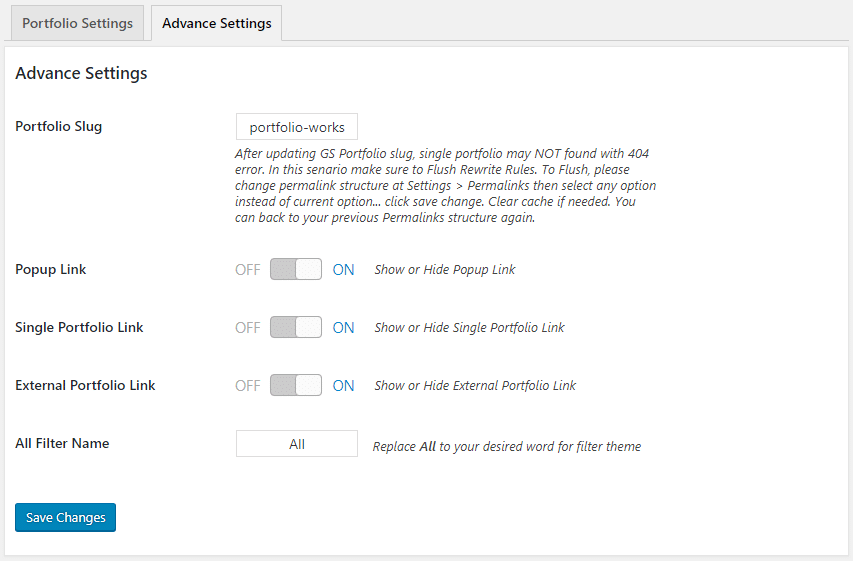 GS Portfolio Advanced Settings