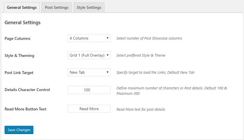 GS Plugins > Posts Grid Settings > General Settings