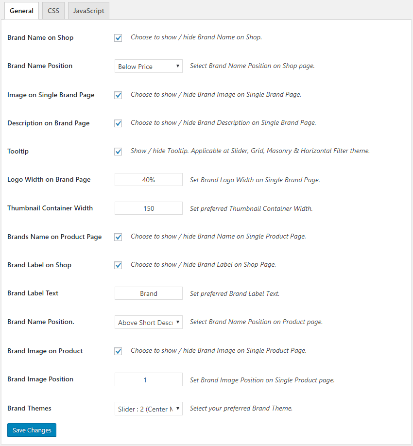 GS WooCommerce Product Brand Settings