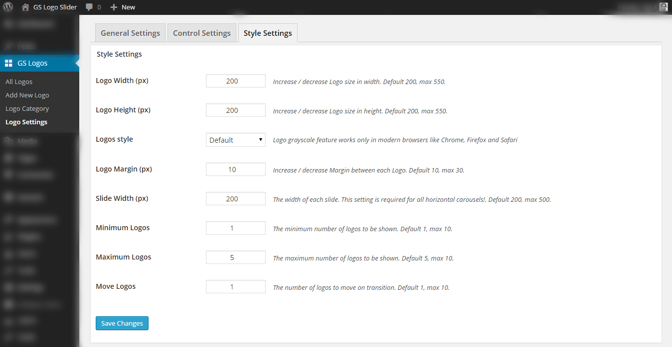 GS Logo Slider Control Settings