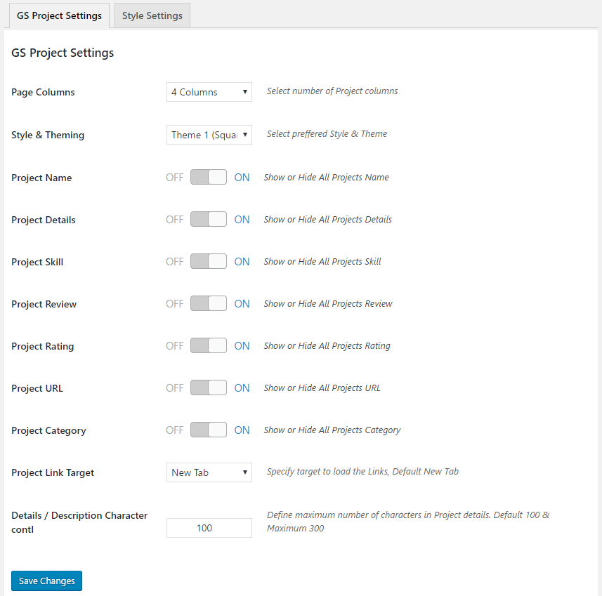WordPress Projects Showcase Plugin General Settings