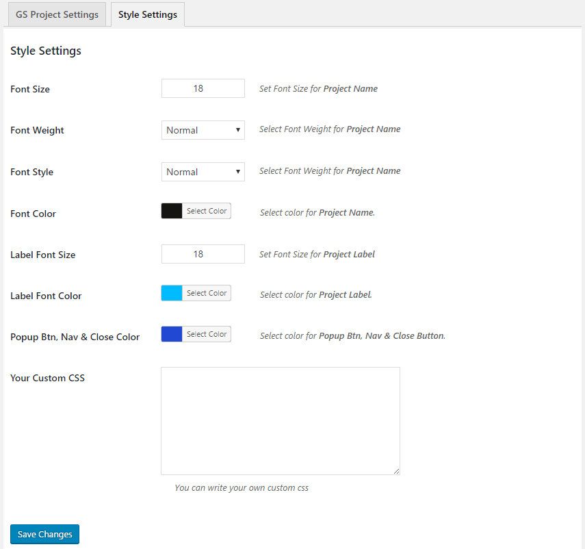 WordPress Projects Showcase Plugin Settings