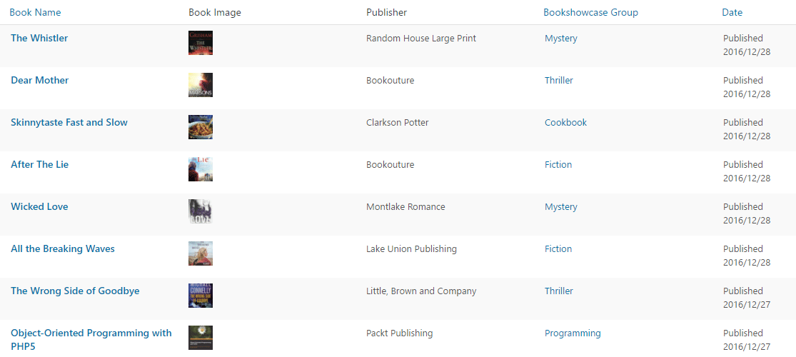 wordpress book library plugin | All Books at a glance