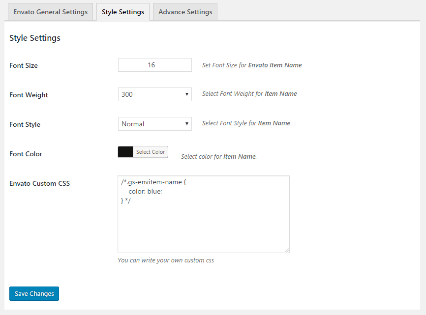 GS Envato Style Settings