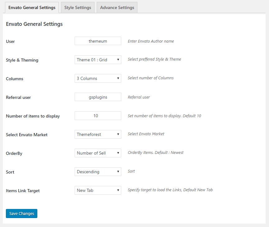 GS Envato General Settings