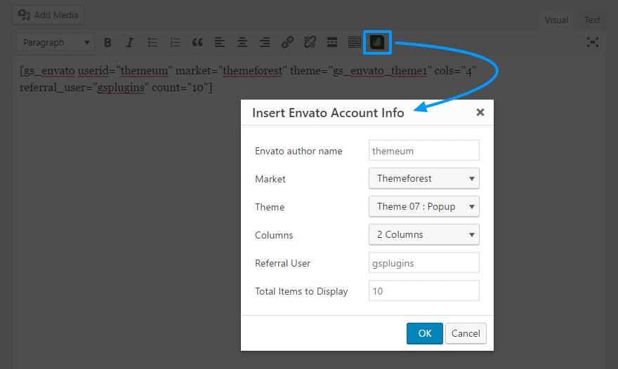 GS Envato Shortcode Generator | envato portfolio wordpress plugin