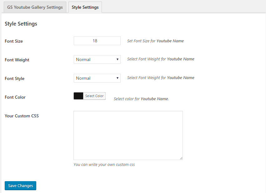 GS YouTube Gallery Style Settings