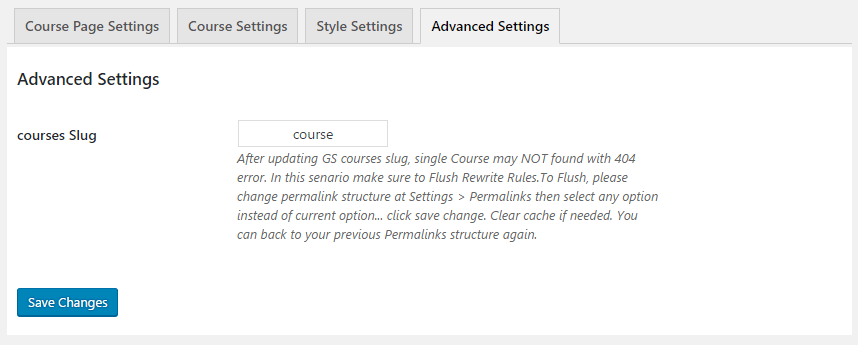 GS Courses Advanced Settings