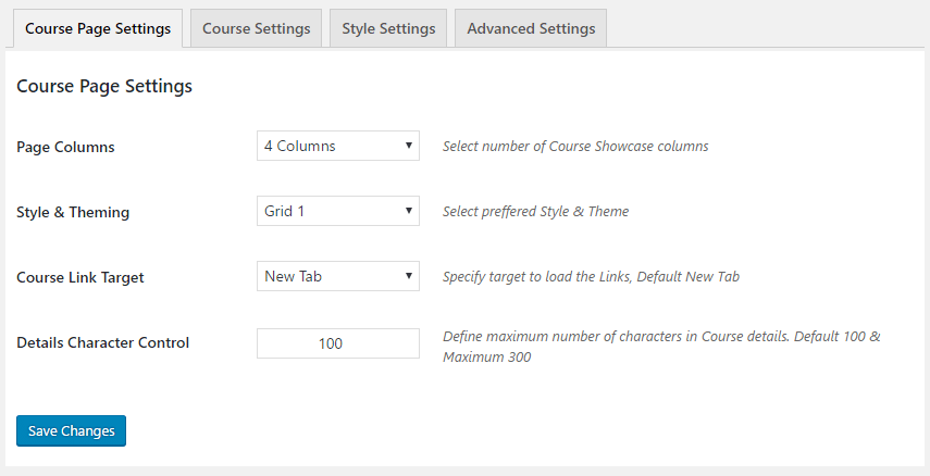 GS Courses Page Settings