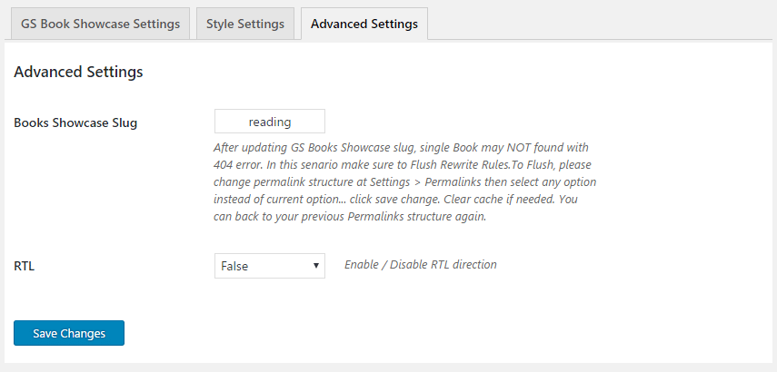 WordPress Books Showcase Plugin Advanced Settings