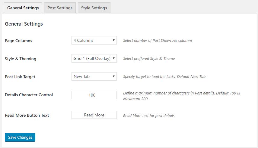 Wordpress Posts Grid General Settings