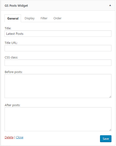 WordPress Posts Widget : General Settings
