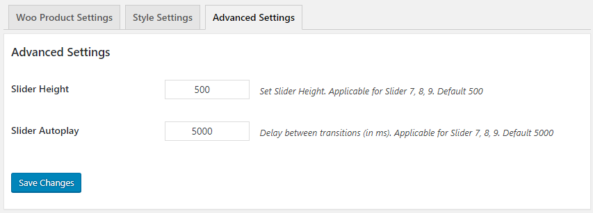 GS WooCommerce Product Slider Advanced Settings