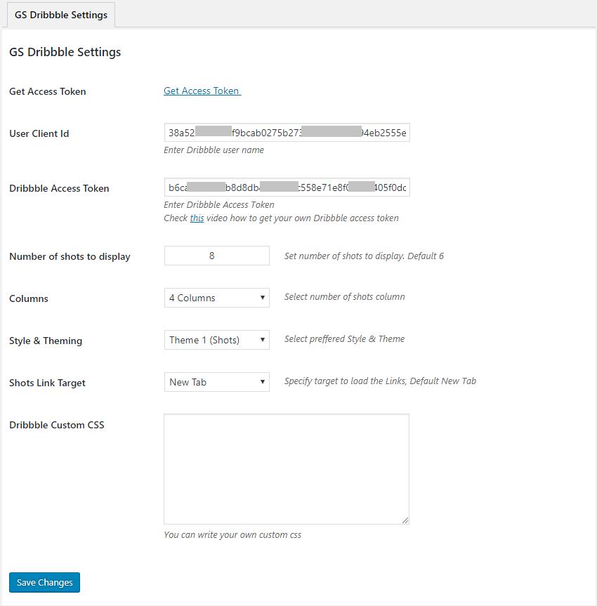 GS Dribbble Portfolio wordpress plugin Settings