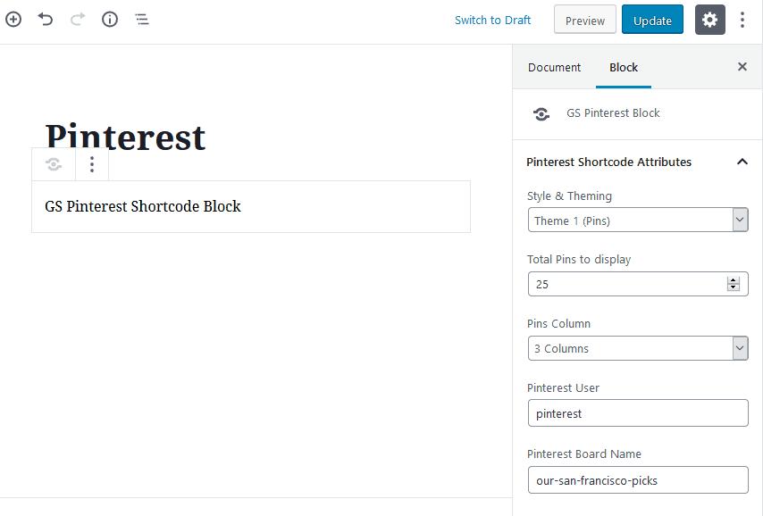 pinterest wordpress plugin | GS Pinterest Gutenberg Block
